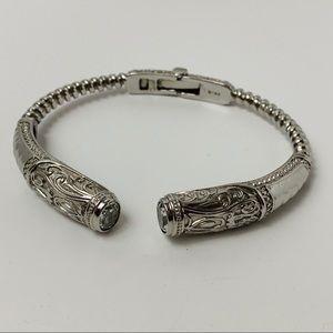 Stainless Steel Hinged Cuff Bracelet Crystal